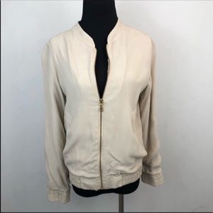 Monrow Cream Crepe Lightweight Bomber Zip Jacket